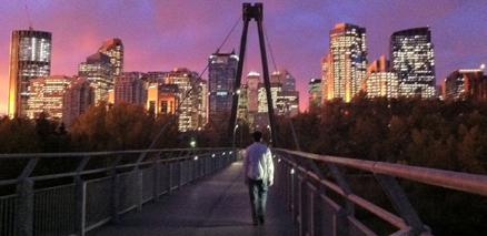 Walking toward dark city